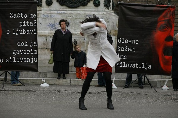 serbia act women my body my territory street performance 2010 belgrade serbia